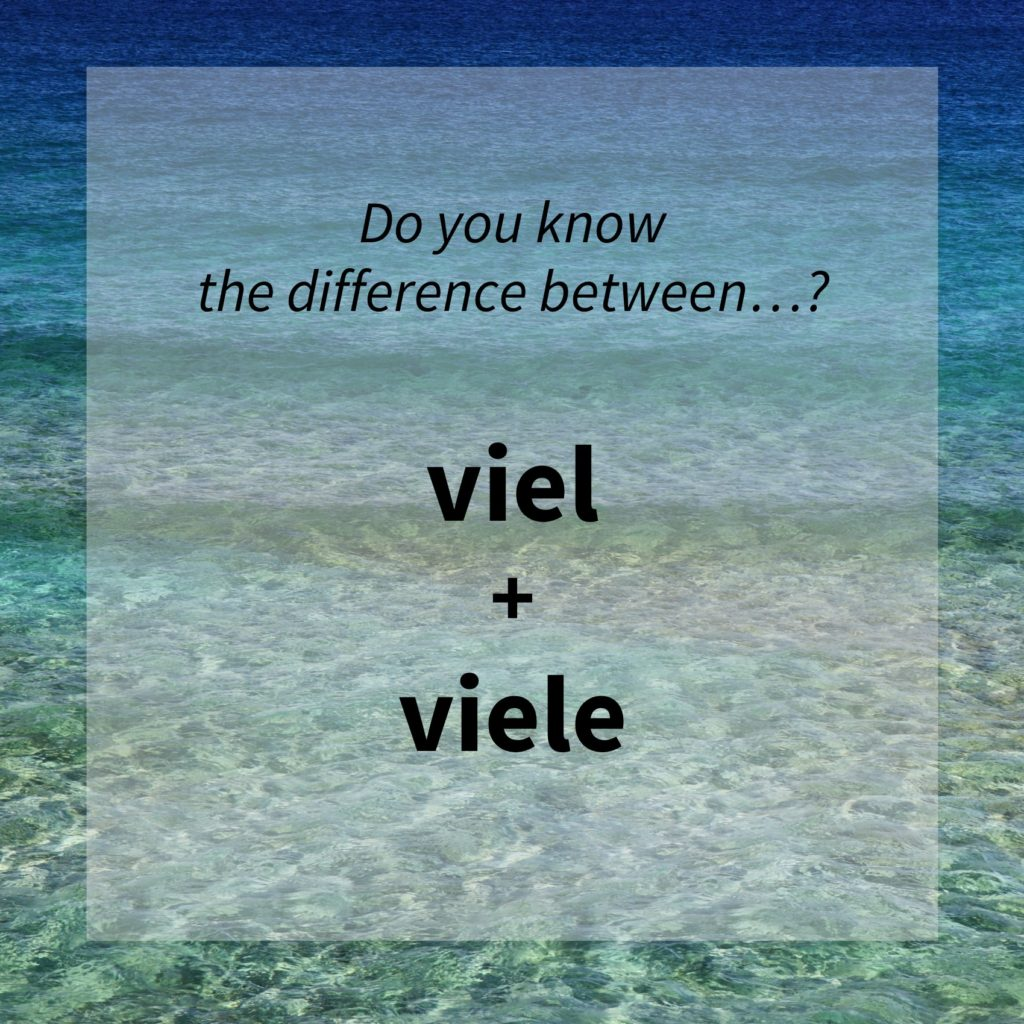 Image asking whether you know the difference between the German words 'viel' and 'viele'.