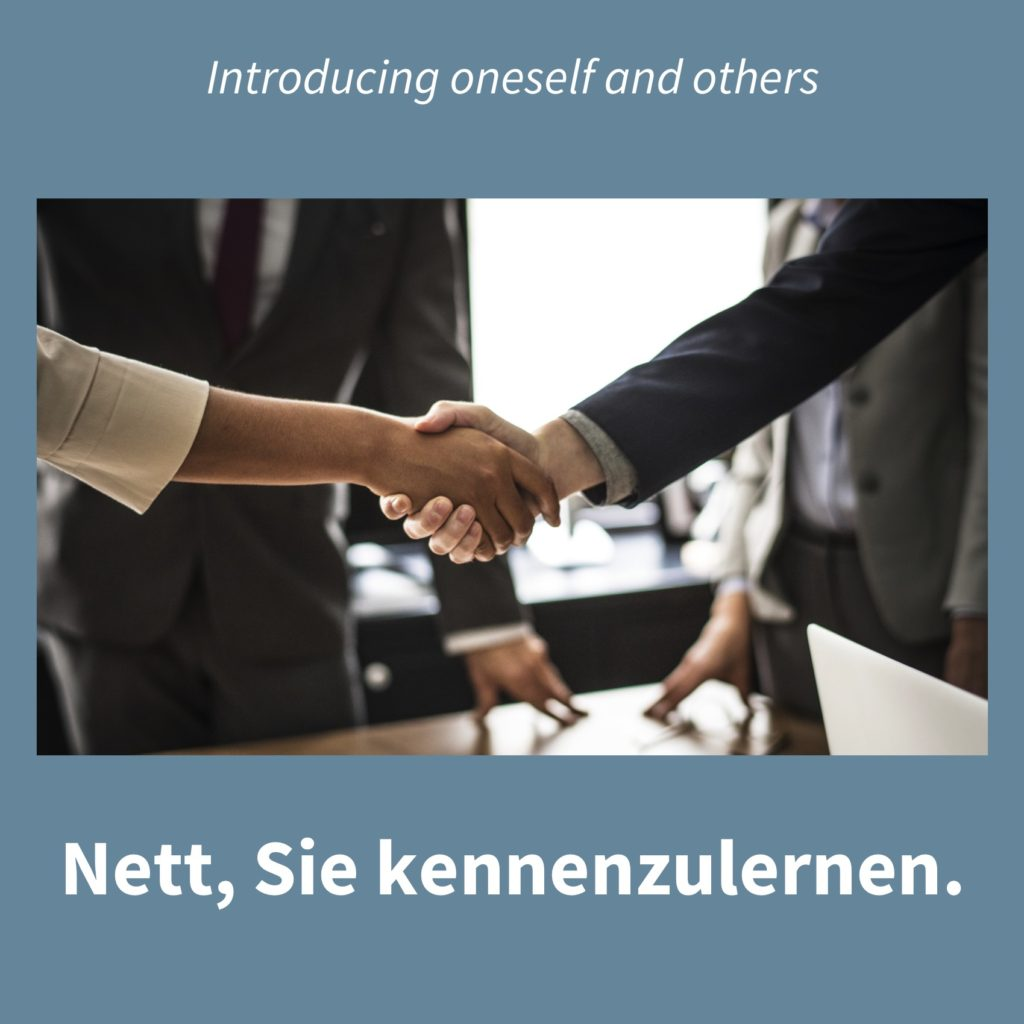 Image of people shaking hands with the caption in German: Nett, Sie kennenzulernen.
