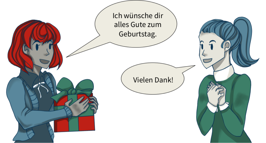 "Image showing two women, one with a present and saying ""Ich wünsche dir alles Gute zum Geburtstag"" and the other saying ""Vielen Dank""."