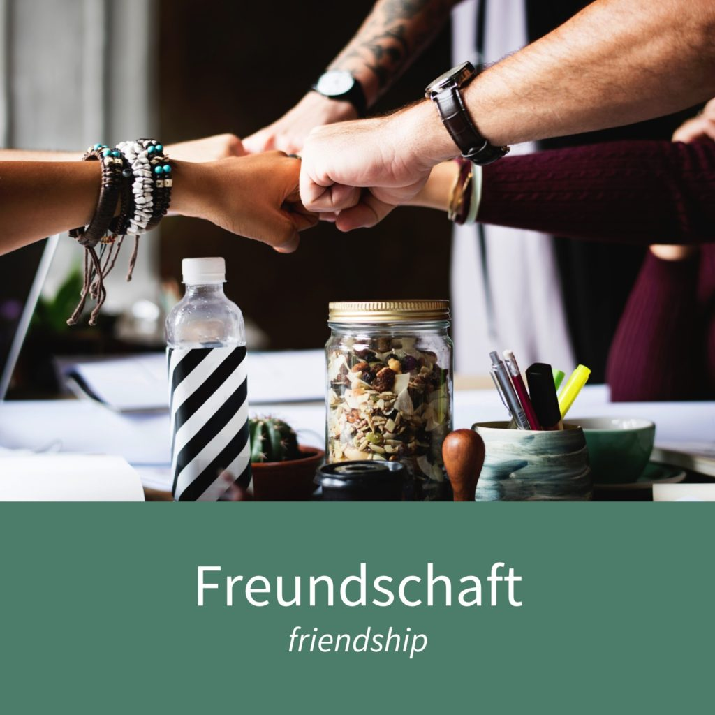 "Image showing some friends and the caption ""die Freundschaft - friendship"""