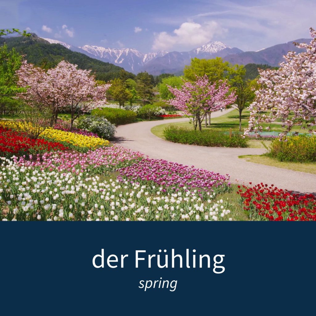 "Image showing a landscape in spring and the caption ""der Frühling - spring"""