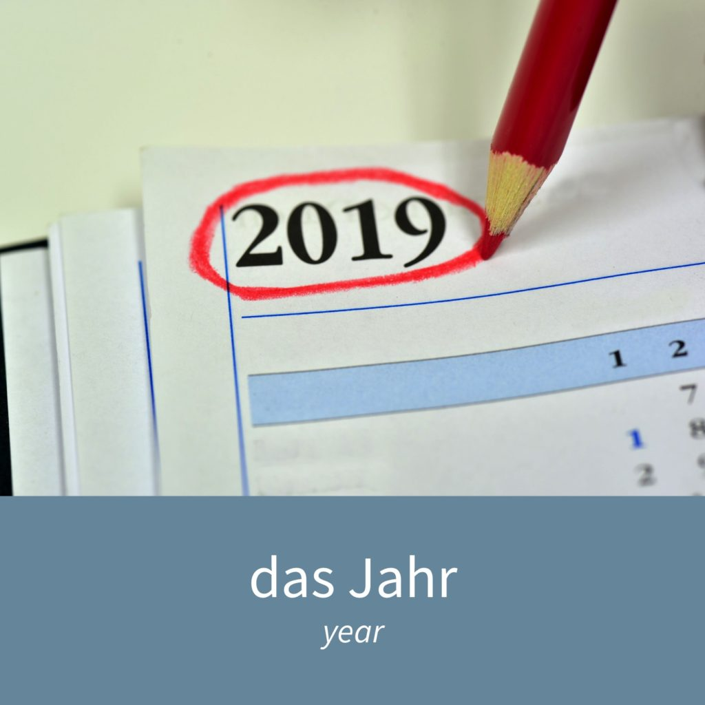 "Image showing 2019 circled in a diary and the caption ""das Jahr - year"""