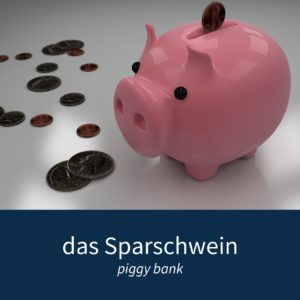 """Image showing a piggy bank and some coins with the caption """"das Sparschwein - piggy bank"""""""