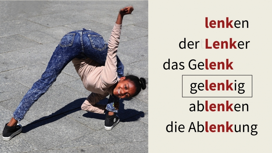 "Image showing girl being very supple and some words from the word family ""lenken"""